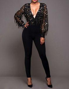 Sequined Fringe Plunge Black Mesh Tight Jumpsuit Club Stage Dance Wear