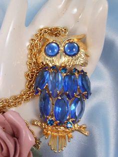 Juliana Blue Rhinestone Owl Necklace by jewelhoarder on Etsy
