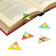 These origami bookmarks are colorful and magnetic!