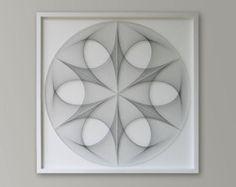 Modern String Art - Zen Wall Art - Framed Abstract Art - Sacred Geometry - Art - Office Wall Art - Gift for Her - Special Gift for Mum 3d Wall Art, Large Wall Art, Framed Wall Art, Art Zen, Art Encadrée, Mandala Art, Arte Linear, Grand Art Mural, Trendy Bar