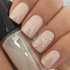 Quilted Nude Nail Polish & Diamante Design. Bridal Nail Art