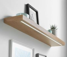 Stunning solid white oak LED floating shelf supplied with warm white low voltage LED kit and driver set. For a superior finish and stylish choice of oak LED light shelves our range is of the highest quality. Floating Shelf Fixings, Floating Shelves With Lights, Shelves Lighting, Oak Shelves, Wooden Shelves, Corner Shelves, Shelving, Strip Lighting, Home Lighting