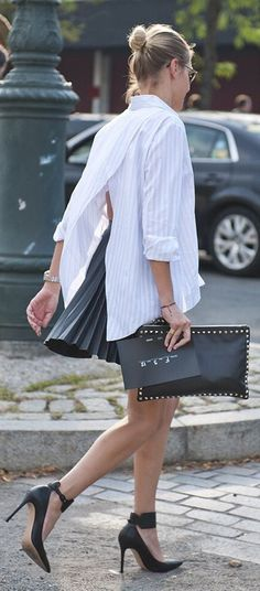 Pinstripes Split Back Shirt Outfit Idea
