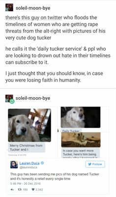 """""""Daily Tucker Service"""" the fact that this is a thing that is NEEDED is sad. But go dog, go! Tumblr Stuff, Tumblr Posts, Faith In Humanity Restored, Tumblr Funny, Good People, Beautiful Soul, Real Man, Gives Me Hope, Feminism"""