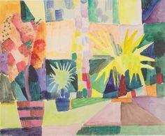 'Garten am Thunersee', wasserfarbe von August Macke (1887-1914, Germany)