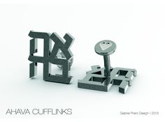 """Had these designed for my husband for our wedding! """"Ahava"""" Hebrew Love Cufflinks by Cufflink Junkie on Shapeways"""