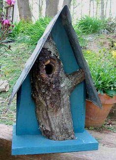 Log Front & Tin Birdhouse