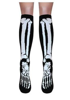 Bones Knee High Socks - Black :: VampireFreaks Store :: Gothic Clothing, Cyber-goth, punk, metal, alternative, rave, freak fashions