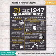 70th Birthday Chalkboard Poster Sign 70 Years Ago by DigitalBoard