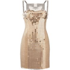 Versace Chain-mail and silk-satin mini dress (27.040 BRL) ❤ liked on Polyvore featuring dresses, vestidos, versace, cocktail dresses, silver, short fitted dresses, versace dresses, versace cocktail dresses, beige short dress and overlay dress