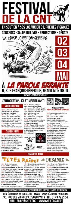Festival de la CNT La Parole errante 2014. Du 2 au 4 mai 2014 à montreuil.