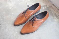Womens shoes Women Leather Oxfords Brown Leather by KatzAndBirds