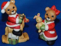 Vintage HOMCO Home Interiors #5502 Christmas BEARS Figurine Boy & Girl New