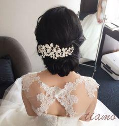 黒髪美人の花嫁さま♡ヘアードでイメージチェンジなホテル婚 | 大人可愛いブライダルヘアメイク 『tiamo』 の結婚カタログ