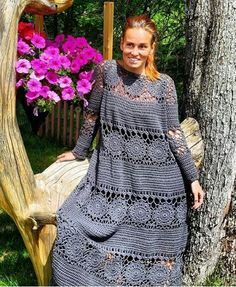 Dresses With Sleeves, Knitting, Long Sleeve, Crochet Clothes, Blouses, Fashion, Crochet Dresses, Crochet Shawl, Moda