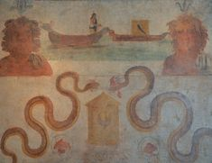 Fresco from the Temple of Isis in Pompeii depicting the discovery of the boat with the coffin of Osiris, East wall of Sacrarium, Naples National Archaeological Museum.