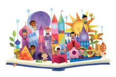 Joey Chou - It's a Small World . love his illustration style! Disney Love, Disney Magic, Disney Parks, Walt Disney World, Disneyland, Joey Chou, The Pirates, Disney Artwork, Disney Artists