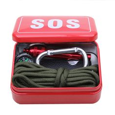 Outdoor equipment with paracord  emergency  survival box SOS Camping Hiking  tools, equipment for Camping Hiking saw/fire