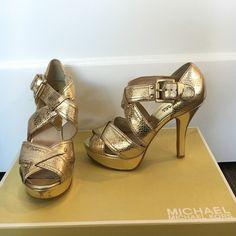 fc6a94ee743 Michael By Michael Kors Gold Strap Sandal Heels Gold metallic platform  sandal heels. Slightly worn