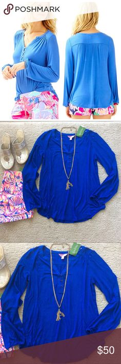 """Lilly Pulitzer Lilias Tunic Top Lilly Pulitzer Lilias Tunic Top in Iris Blue. Gorgeous wardrobe staple for Fall. Buttons on the placket. Rounded Hemline be. Long, bracelet sleeves. Laying flat approx 25"""" shoulder to hem, approx 18"""" pit to pit. 95 rayon 5 spandex. Size S. NWT. #1142 Lilly Pulitzer Tops"""