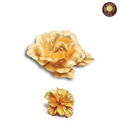 Aarya24kt Gold Foil Mini Brooch & Flower Combo
