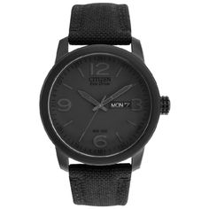 I'm a fan of the Eco Drive series from Citizen.  You don't have to worry about winding them and there is no need to change batteries.  They are also very easy on the wallet.  I am liking the black on black action of this watch.  This one is part of the Citizen military series.  Comes with a canvas band.