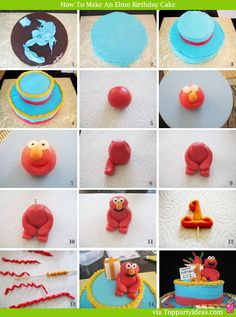 Easy Elmo Birthday Cake Step by Step Tutorial - If you can play with clay, you can make this cake!  This cake was created by my 14 year old daughter. You can do it too!  Just try it!