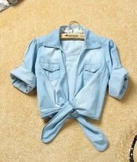 Wish | Women Summer Cute New Lower Hem Knotted Middle Sleeve Casual Jean Blue Jean Shirt Top One Size@II1015bl