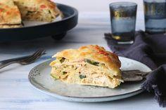 Tortillataart met pulled chicken en pesto