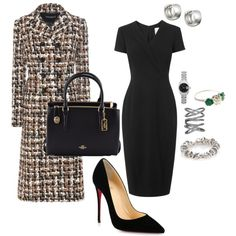 A fashion look from April 2017 featuring L.Bennett dresses, Dolce&Gabbana coats and Christian Louboutin pumps. Browse and shop related looks. Classy Outfits, Chic Outfits, Fashion Outfits, Womens Fashion, Office Fashion, Work Fashion, Fashion Looks, Fashion Fashion, Legging Outfits