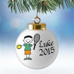 Boys that Enjoy Tennis Will Love this Personalized 3 inch Ball Christmas Ornament