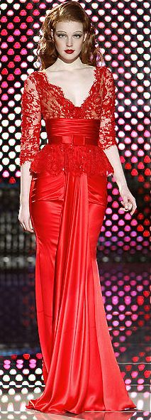 Zuhair Murad - red satin dress wih lace bodice/sleeves - 2008