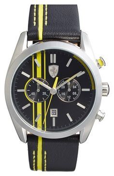 Scuderia Ferrari 'D50' Chronograph Leather Strap Watch, 44mm available at #Nordstrom