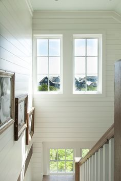 what a perfect white - white dove BM OC-17 Shingle Style Beach House with Classic Coastal Interiors