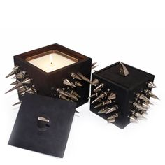 Spike Candle - Black Leather