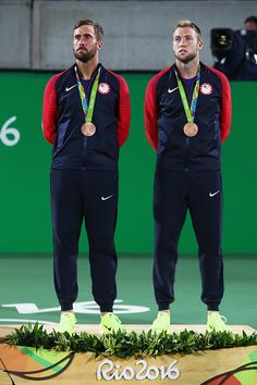 #RIO2016 Bronze medalists Steve Johnson and Jack Sock of the United States stand on the podium Men's Tennis Doubles medal competition on Day 7 of the Rio 2016...