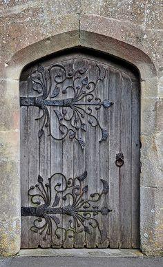 iron vines on weathered door