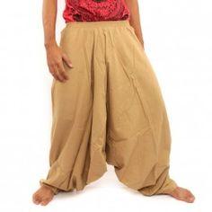 pantalones de harén de algodón de color caqui