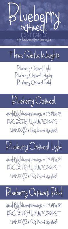 Blueberry Oatmeal Font Family. Script Fonts. $10.00