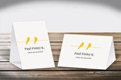 Platzkarten Aufsteller   Design Verliebte Vögel DIN A6 Hoch- und Querformat  #Platzkarten #Aufsteller  #DINA6 #CHILIPFEFFERdesign   http://www.chilipfeffer-design.de/hochzeit/platzkarten/aufsteller_din_a6/index.html#Verliebte%20Voegel