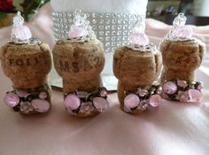 Pink Delights Bridesmaids Champagne Corks by TheBeadedCork on Etsy, $12.00