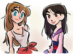 Disney's Jane Porter and Fa Mulan by *princekido on deviantART
