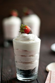 Oreos, cream cheese, strawberries, and whipped topping combine to create a no bake cheesecake worthy of any Valentine's Day celebration.