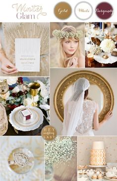 Winter Glam – Art Deco Wedding Inspiration in Gold, White, and Burgundy