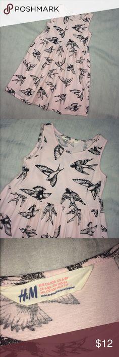 H&M • Soft Pink Sparrow Birds Dress PreLoved H&M Dresses Casual