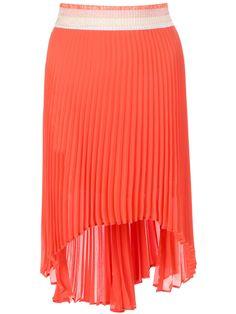Orange 'Tulipanonero' skirt from Pinko featuring a tonal striped elasticated waistband, a pleated design and an asymmetric hem.