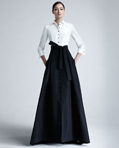 B1Z5J Carolina Herrera Taffeta Gown