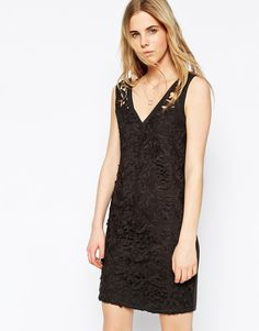 Vila Deep V Shift Dress With Lace Cut Work Detail