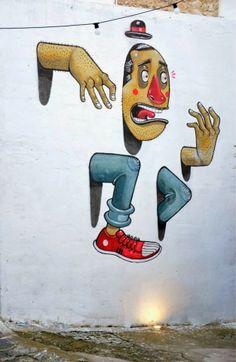 World Graffiti Urban Art - Mr Thoms in Favara, Sicily Urban Street Art, 3d Street Art, Street Art Graffiti, Street Artists, Graffiti Murals, Murals Street Art, Mural Art, Atelier D Art, Street Painting