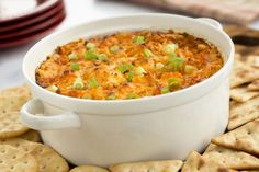 Combine cream cheese, blue cheese, ranch dressing and hot sauce give this hearty baked Buffalo chicken dip a familiar flair. Try it today!